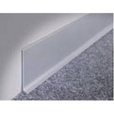 Плинтус 100х3х3000 плоский с рисками серебро